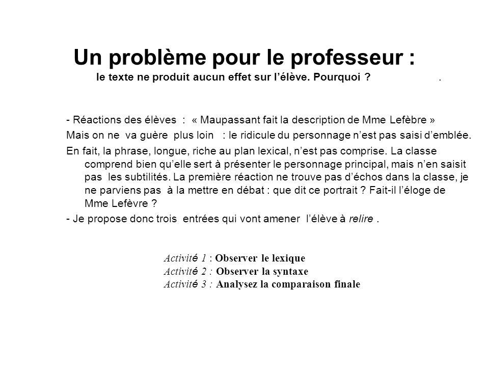 Un problème pour le professeur : le texte ne produit aucun effet sur lélève. Pourquoi ?. - Réactions des élèves : « Maupassant fait la description de