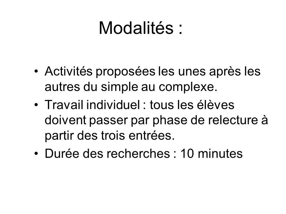 Modalités : Activités proposées les unes après les autres du simple au complexe. Travail individuel : tous les élèves doivent passer par phase de rele