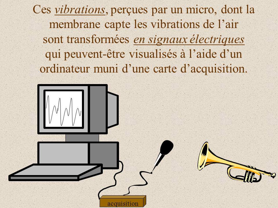 Ces vibrations, perçues par un micro, dont la membrane capte les vibrations de lair sont transformées en signaux électriques qui peuvent-être visualisés à laide dun ordinateur muni dune carte dacquisition.