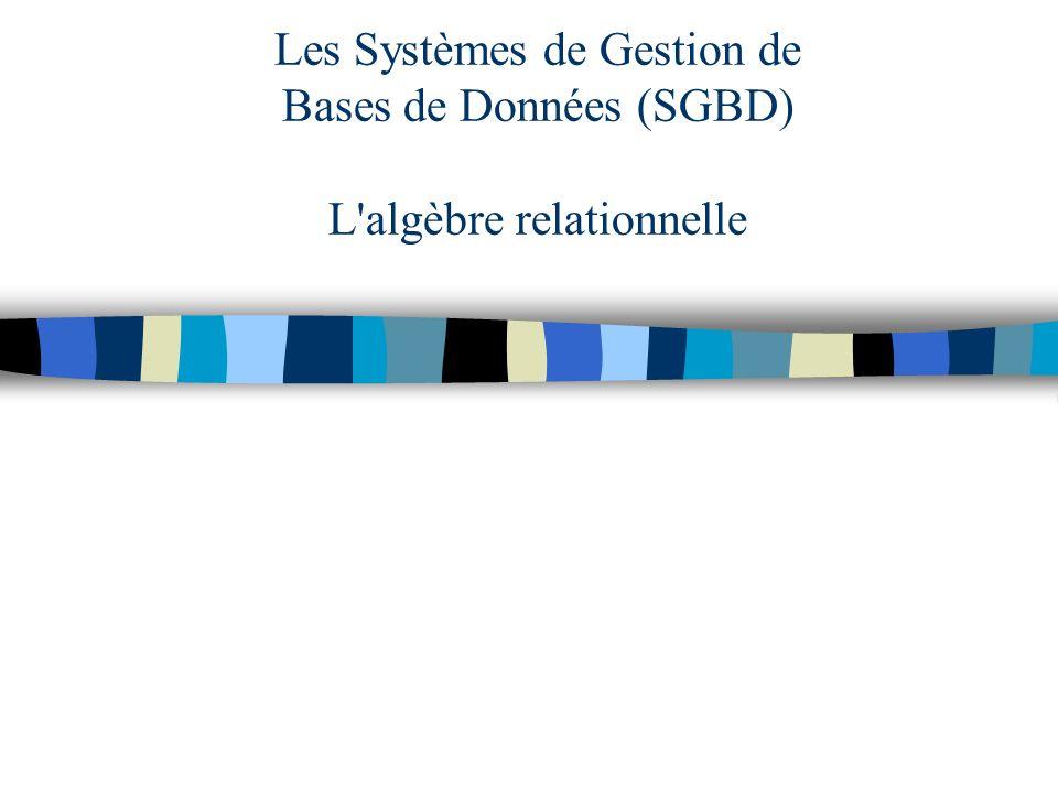 Les Systèmes de Gestion de Bases de Données (SGBD) L'algèbre relationnelle