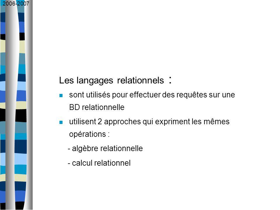 2006-2007 Les langages relationnels : sont utilisés pour effectuer des requêtes sur une BD relationnelle utilisent 2 approches qui expriment les mêmes