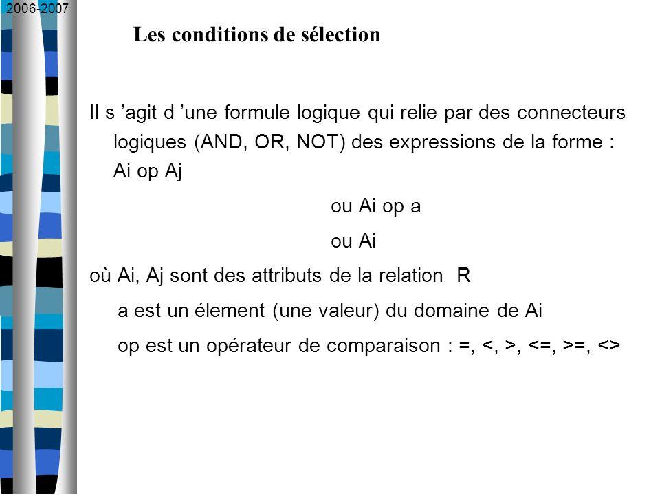 2006-2007 Il s agit d une formule logique qui relie par des connecteurs logiques (AND, OR, NOT) des expressions de la forme : Ai op Aj ou Ai op a ou A
