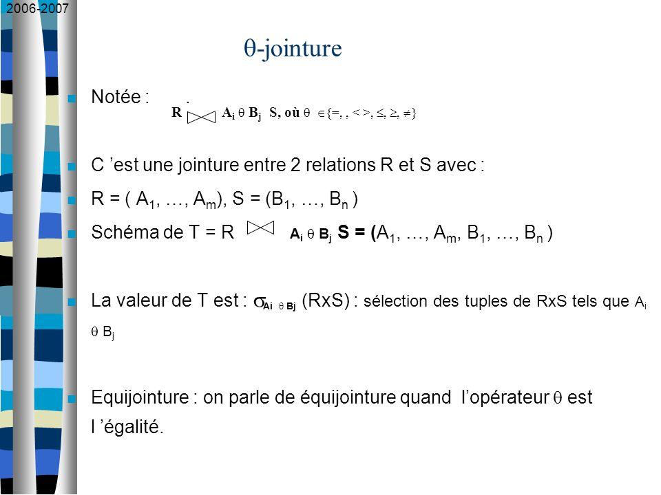 2006-2007 -jointure Notée :. C est une jointure entre 2 relations R et S avec : R = ( A 1, …, A m ), S = (B 1, …, B n ) Schéma de T = R A i B j S = (A