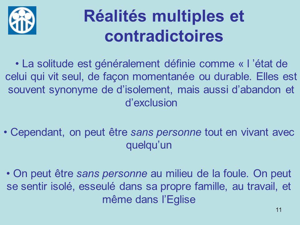11 Réalités multiples et contradictoires Cependant, on peut être sans personne tout en vivant avec quelquun La solitude est généralement définie comme