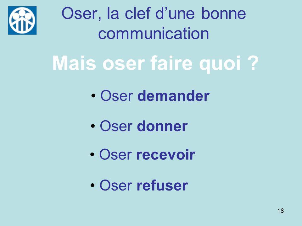 18 Oser, la clef dune bonne communication Oser demander Oser donner Oser recevoir Oser refuser Mais oser faire quoi ?
