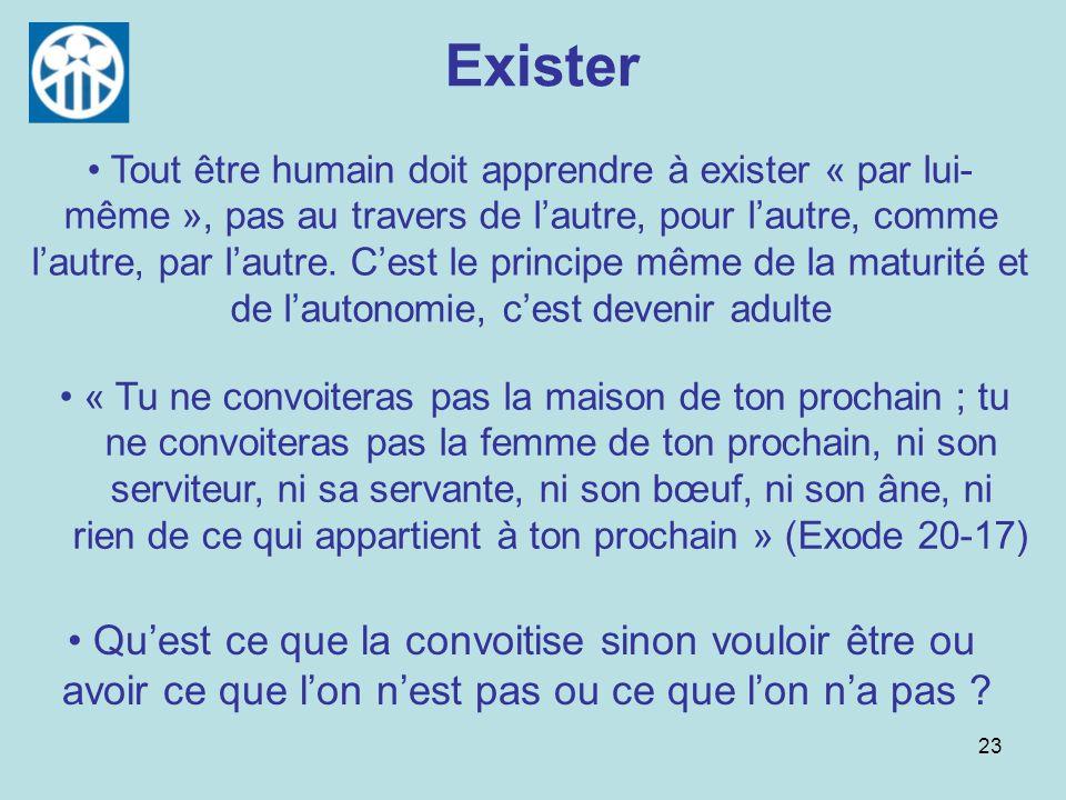 23 Exister Tout être humain doit apprendre à exister « par lui- même », pas au travers de lautre, pour lautre, comme lautre, par lautre. Cest le princ