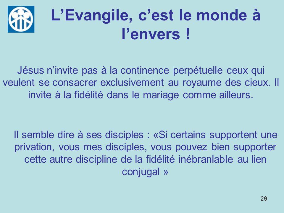 29 LEvangile, cest le monde à lenvers ! Jésus ninvite pas à la continence perpétuelle ceux qui veulent se consacrer exclusivement au royaume des cieux