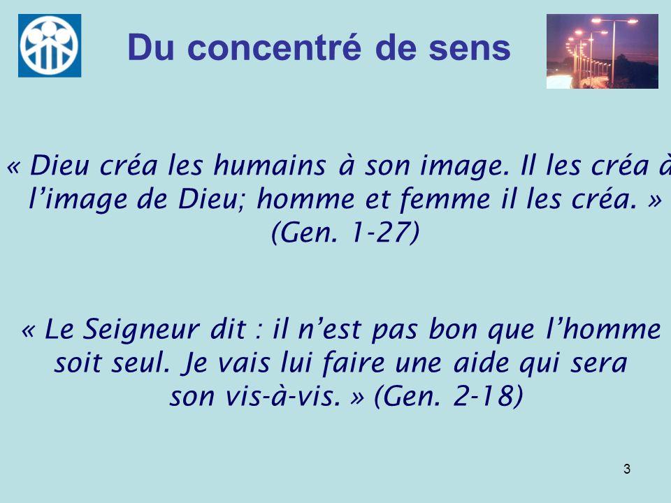 3 Du concentré de sens « Dieu créa les humains à son image. Il les créa à limage de Dieu; homme et femme il les créa. » (Gen. 1-27) « Le Seigneur dit