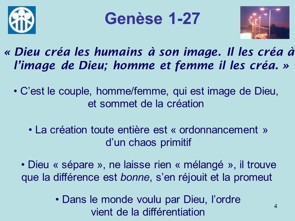4 Genèse 1-27 Cest le couple, homme/femme, qui est image de Dieu, et sommet de la création Dieu « sépare », ne laisse rien « mélangé », il trouve que