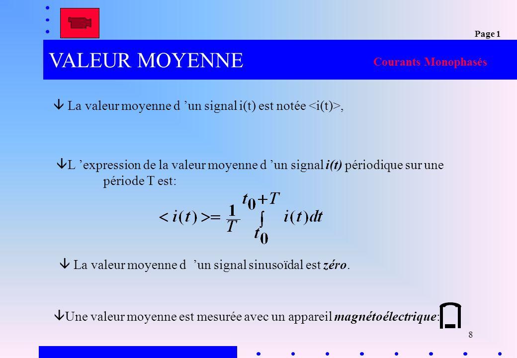 9 1.1 Valeur efficace La valeur efficace d un signal périodique i(t) sur une période est: Une valeur efficace est mesurée avec un appareil ferromagnétique Courants Monophasés Pour un signal sinusoïdal, le rapport de la valeur maximale sur la valeur efficace est constant, il est appelé facteur de crête (CF) : Page 1