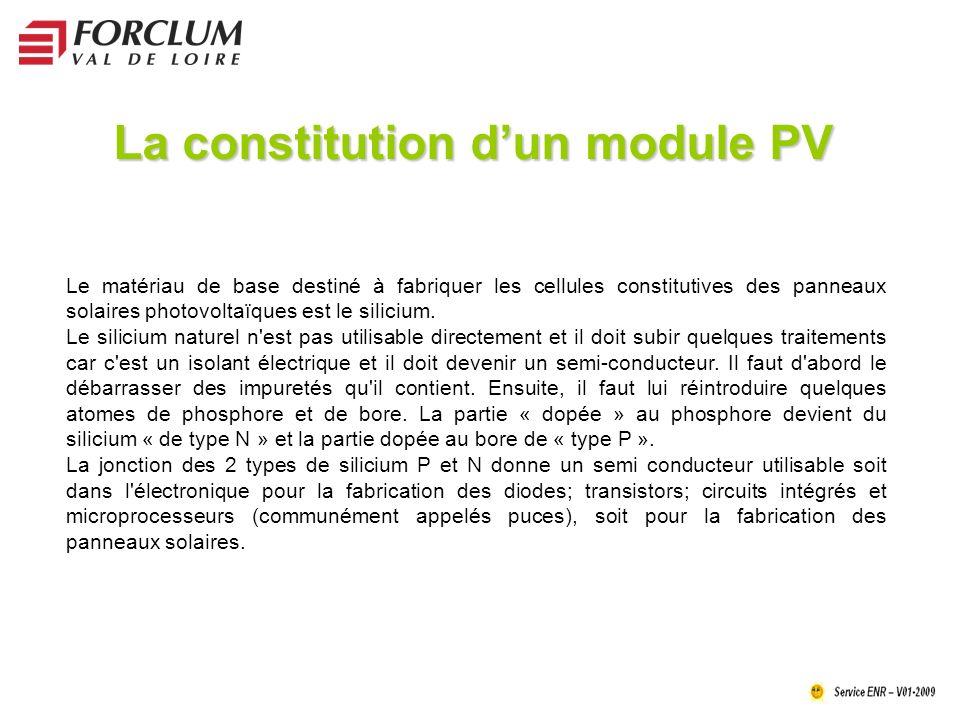La constitution dun module PV Le matériau de base destiné à fabriquer les cellules constitutives des panneaux solaires photovoltaïques est le silicium.