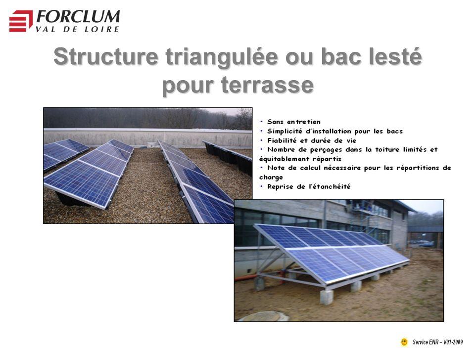 Structure triangulée ou bac lesté pour terrasse