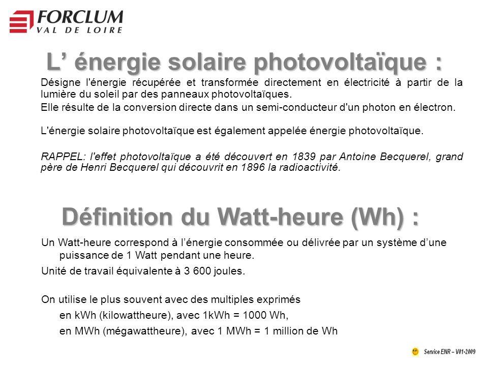 L énergie solaire photovoltaïque : Désigne l énergie récupérée et transformée directement en électricité à partir de la lumière du soleil par des panneaux photovoltaïques.