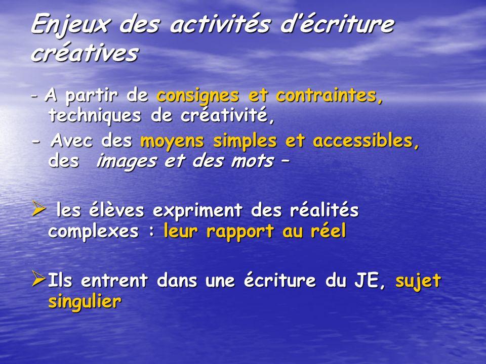 Enjeux des activités décriture créatives - A partir de consignes et contraintes, techniques de créativité, - Avec des moyens simples et accessibles, d