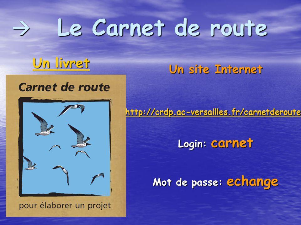 Le Carnet de route Le Carnet de route Un site Internet http://crdp.ac-versailles.fr/carnetderoute Login: carnet Mot de passe: echange Un livret Un liv