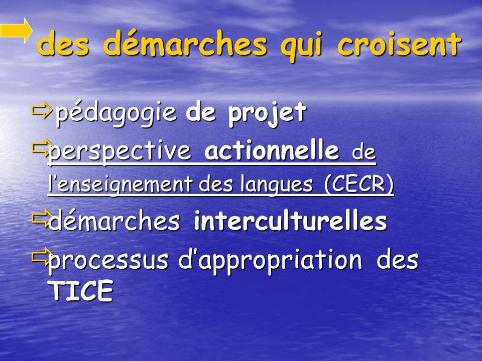 des démarches qui croisent des démarches qui croisent pédagogie de projet pédagogie de projet perspective actionnelle de lenseignement des langues (CECR) perspective actionnelle de lenseignement des langues (CECR) démarches interculturelles démarches interculturelles processus dappropriation des TICE processus dappropriation des TICE
