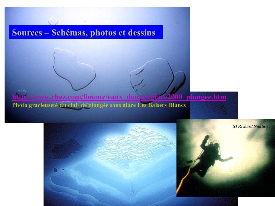 Sources – Schémas, photos et dessins http://www.chez.com/limouz/eaux_douces/glace2000_plongee.htm Photo gracieuseté du club de plongée sous glace Les