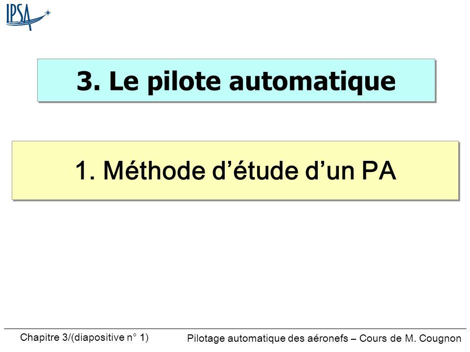 Chapitre 3/(diapositive n° 1) Pilotage automatique des aéronefs – Cours de M. Cougnon 3. Le pilote automatique 1. Méthode détude dun PA