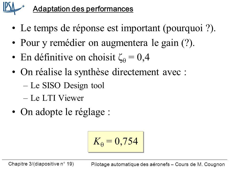Chapitre 3/(diapositive n° 19) Pilotage automatique des aéronefs – Cours de M. Cougnon Adaptation des performances Le temps de réponse est important (