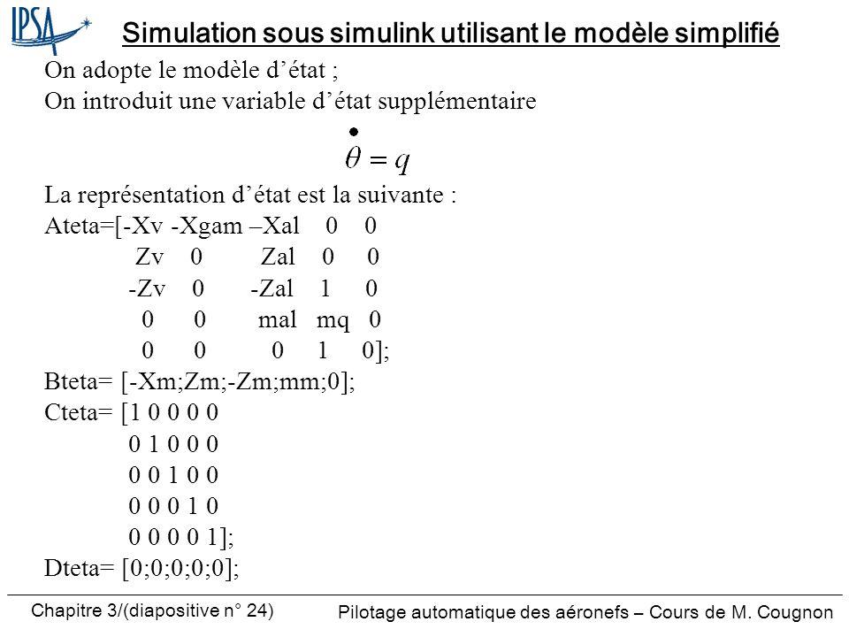 Chapitre 3/(diapositive n° 24) Pilotage automatique des aéronefs – Cours de M. Cougnon Simulation sous simulink utilisant le modèle simplifié On adopt