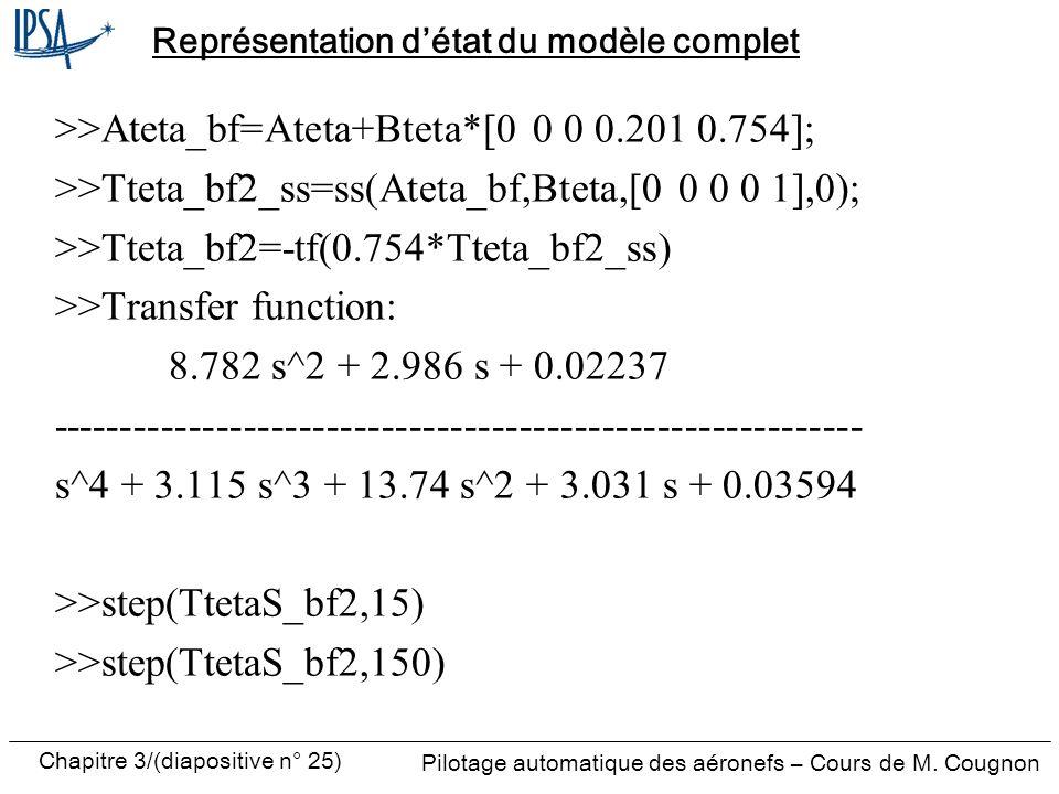 Chapitre 3/(diapositive n° 25) Pilotage automatique des aéronefs – Cours de M. Cougnon Représentation détat du modèle complet >>Ateta_bf=Ateta+Bteta*[