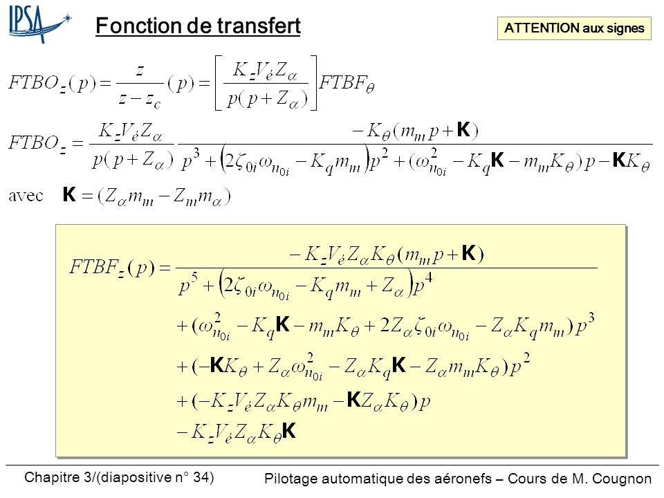 Chapitre 3/(diapositive n° 34) Pilotage automatique des aéronefs – Cours de M. Cougnon Fonction de transfert ATTENTION aux signes