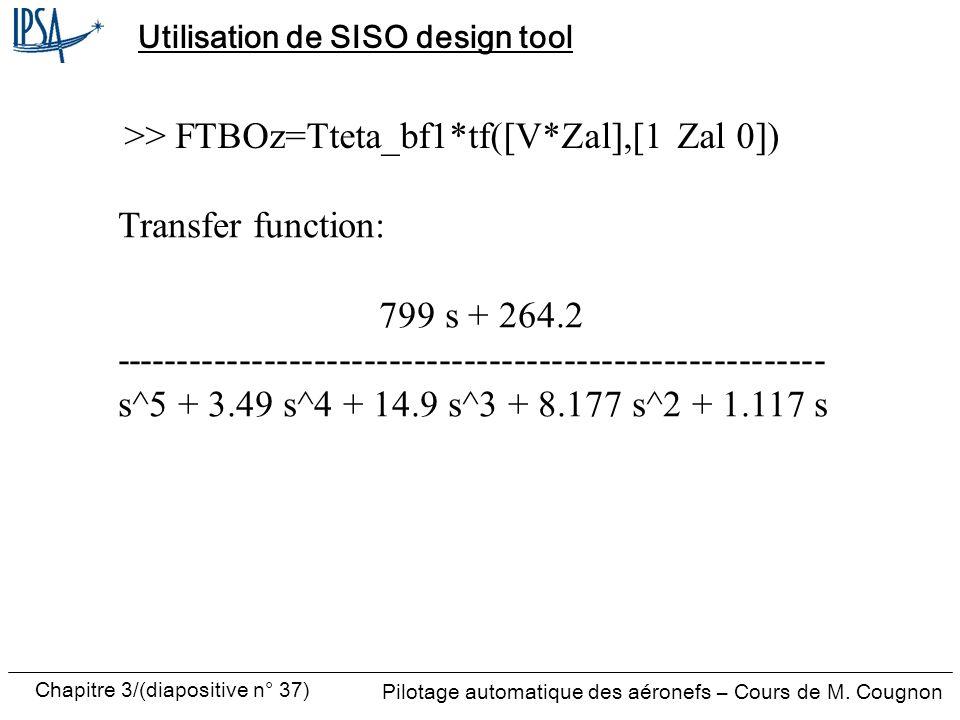 Chapitre 3/(diapositive n° 37) Pilotage automatique des aéronefs – Cours de M. Cougnon Utilisation de SISO design tool Transfer function: 799 s + 264.