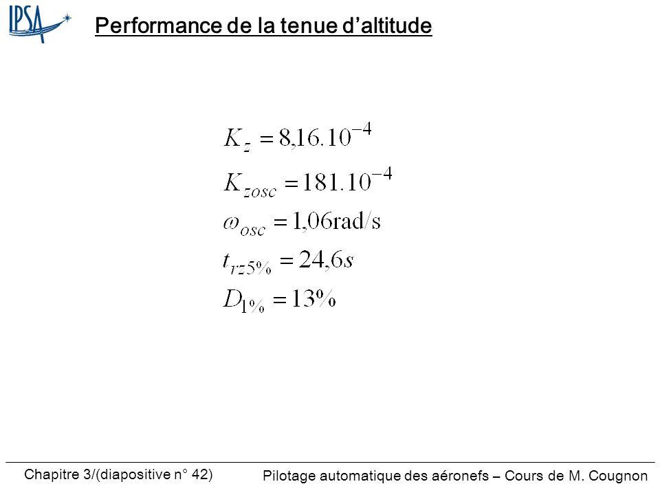 Chapitre 3/(diapositive n° 42) Pilotage automatique des aéronefs – Cours de M. Cougnon Performance de la tenue daltitude