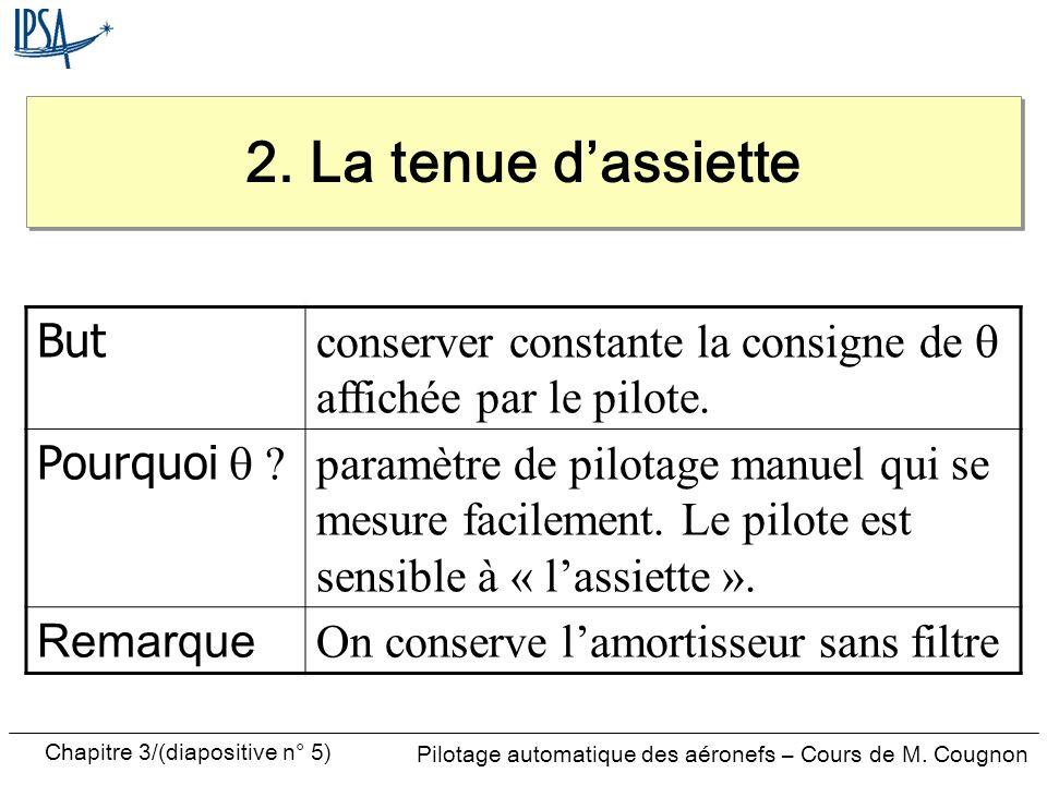 Chapitre 3/(diapositive n° 5) Pilotage automatique des aéronefs – Cours de M. Cougnon But conserver constante la consigne de affichée par le pilote. P