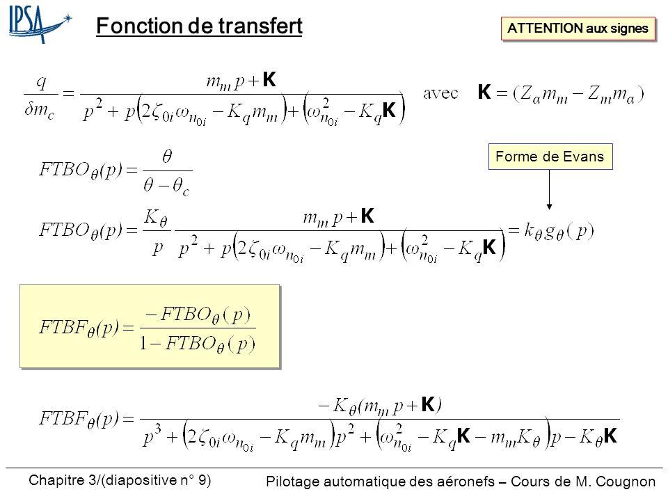 Chapitre 3/(diapositive n° 9) Pilotage automatique des aéronefs – Cours de M. Cougnon Fonction de transfert ATTENTION aux signes Forme de Evans