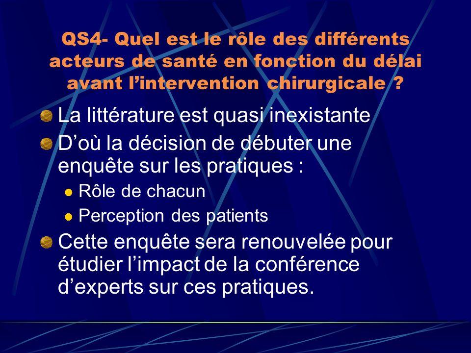 QS4- Quel est le rôle des différents acteurs de santé en fonction du délai avant lintervention chirurgicale ? La littérature est quasi inexistante Doù