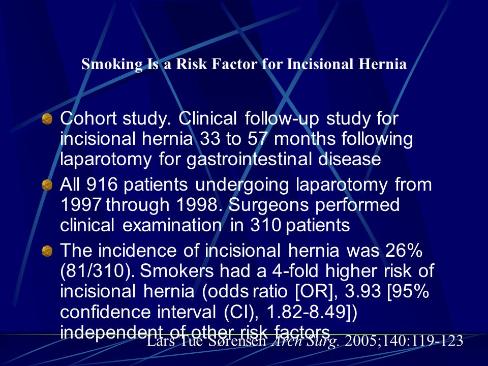 Smoking Is a Risk Factor for Incisional Hernia Cohort study. Clinical follow-up study for incisional hernia 33 to 57 months following laparotomy for g