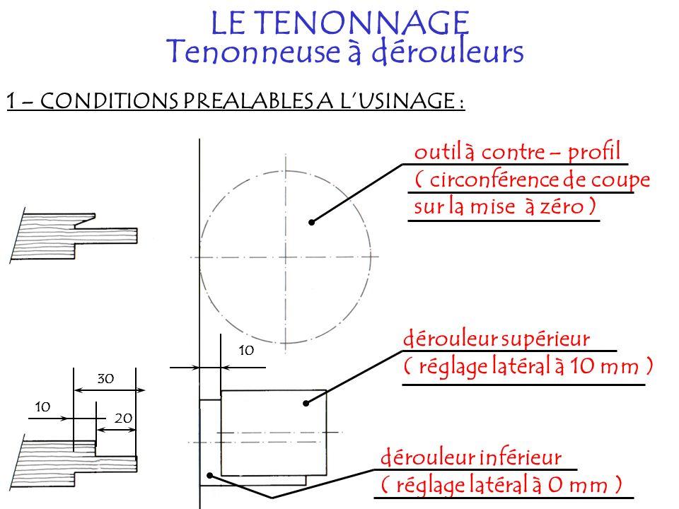 1 – CONDITIONS PREALABLES A LUSINAGE : LE TENONNAGE Tenonneuse à dérouleurs outil à contre – profil ( circonférence de coupe sur la mise à zéro ) dérouleur supérieur ( réglage latéral à 10 mm ) dérouleur inférieur ( réglage latéral à 0 mm ) 10 20 30 10