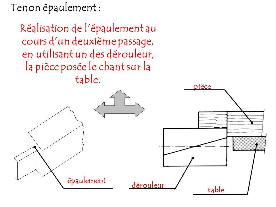 Tenon épaulement : Réalisation de lépaulement au cours dun deuxième passage, en utilisant un des dérouleur, la pièce posée le chant sur la table.