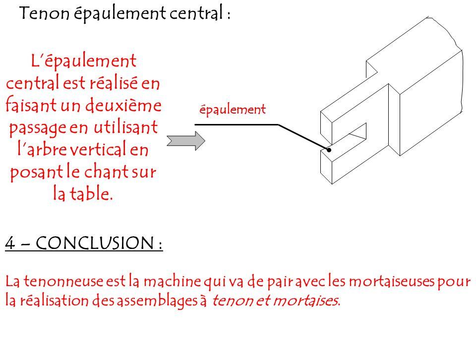 Tenon épaulement central : Lépaulement central est réalisé en faisant un deuxième passage en utilisant larbre vertical en posant le chant sur la table.