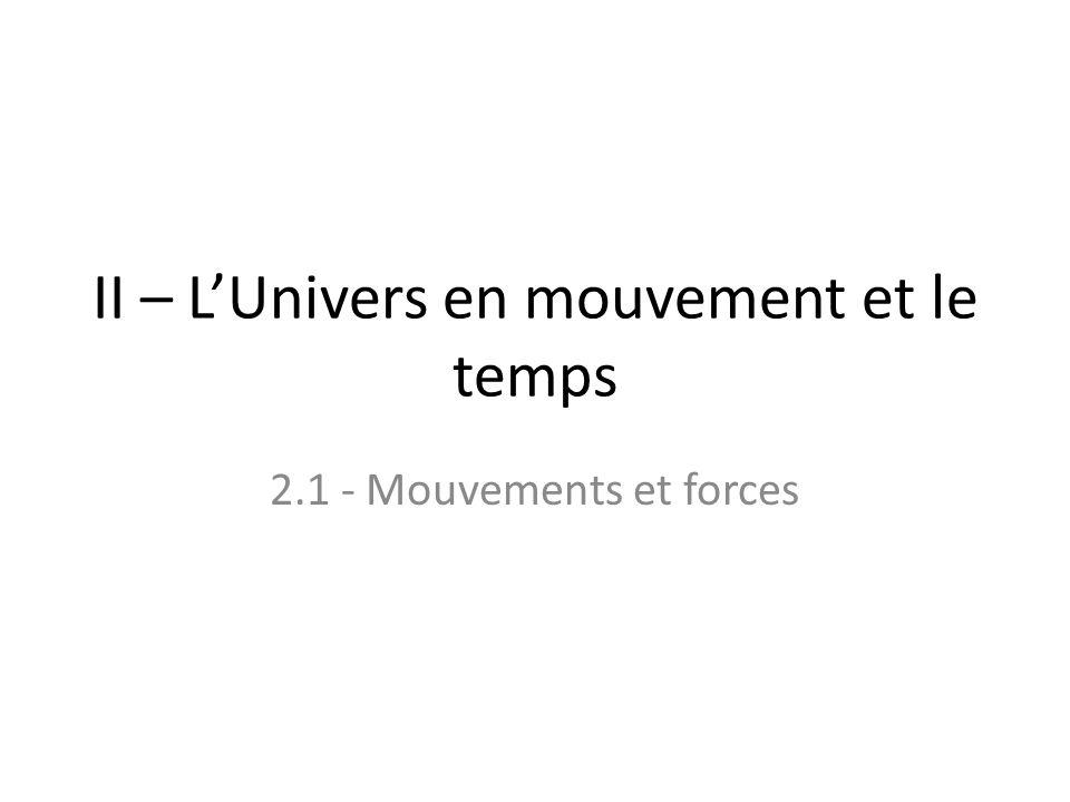 II – LUnivers en mouvement et le temps 2.1 - Mouvements et forces