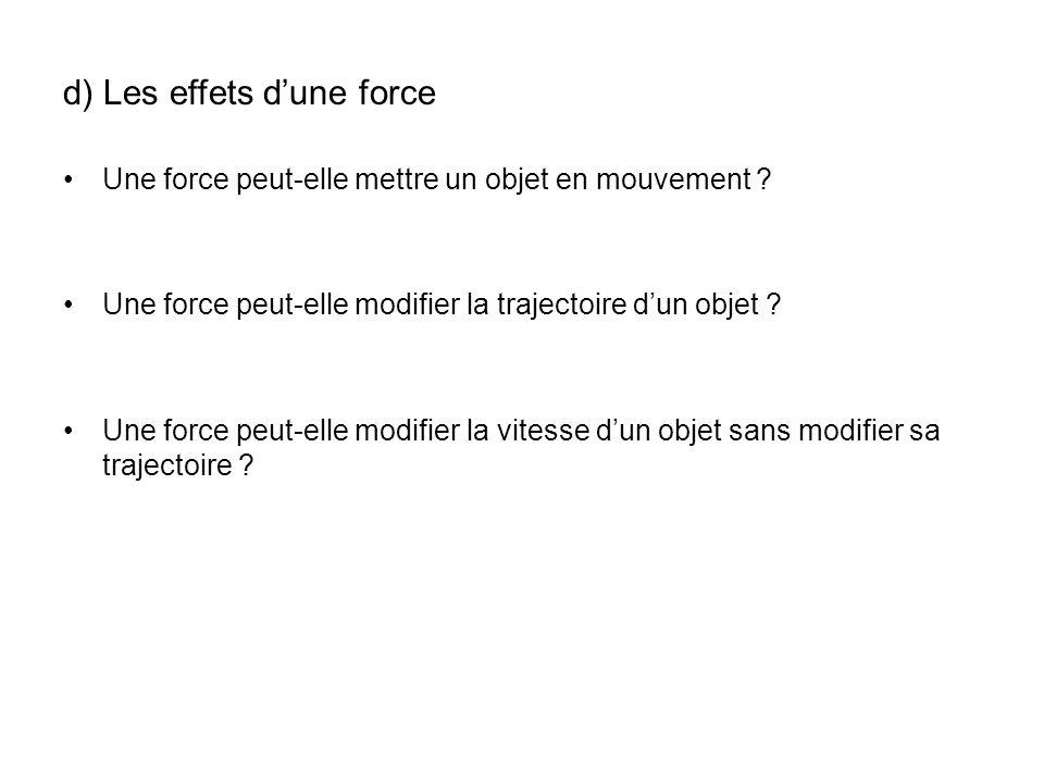 d) Les effets dune force Une force peut-elle mettre un objet en mouvement ? Une force peut-elle modifier la trajectoire dun objet ? Une force peut-ell