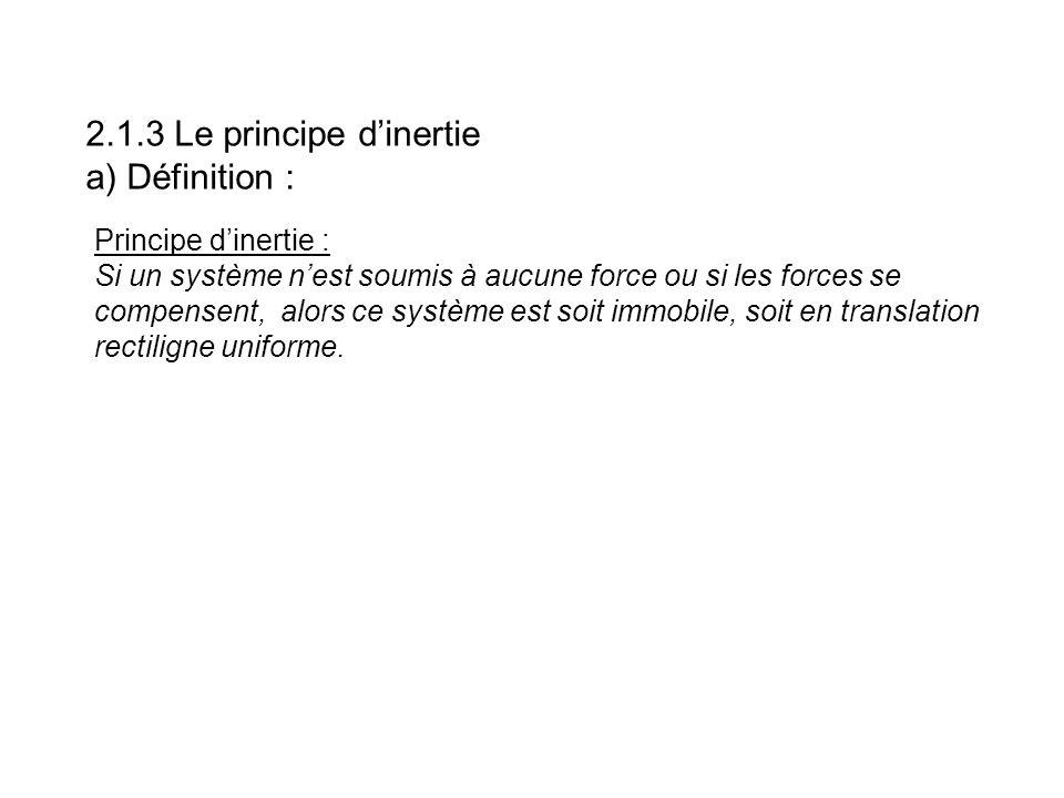 Principe dinertie : Si un système nest soumis à aucune force ou si les forces se compensent, alors ce système est soit immobile, soit en translation r