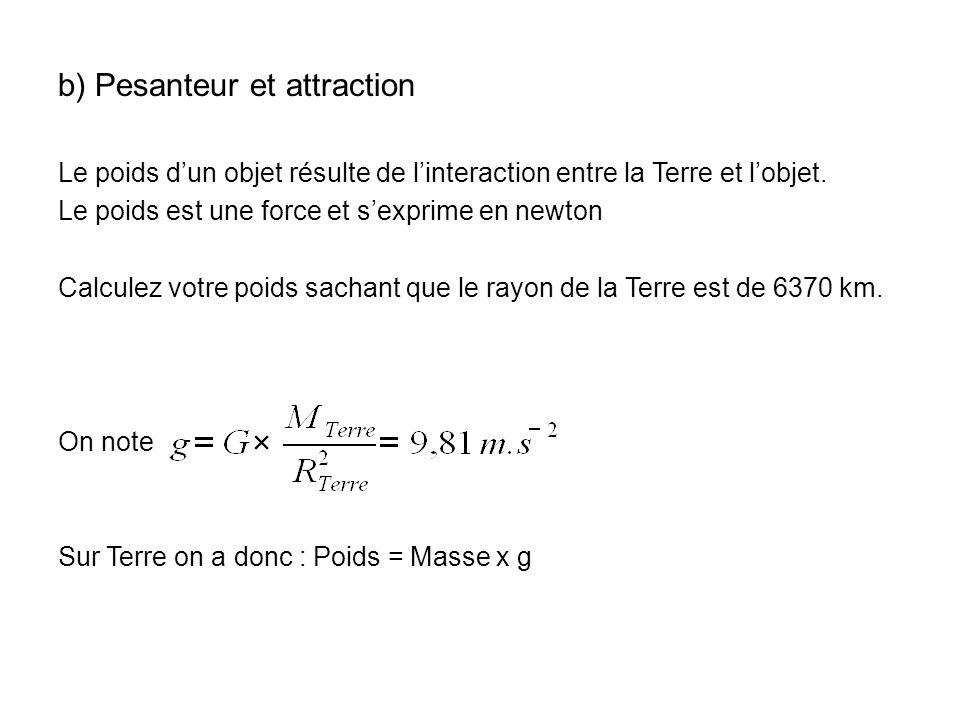 b) Pesanteur et attraction Le poids dun objet résulte de linteraction entre la Terre et lobjet. Le poids est une force et sexprime en newton Calculez