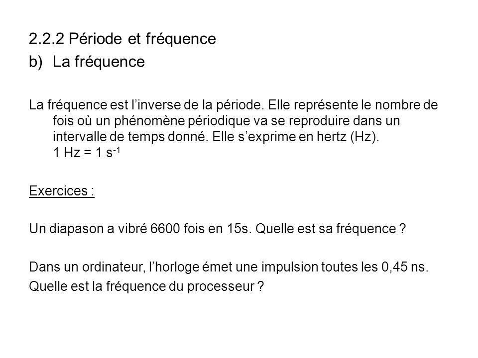 2.2.2 Période et fréquence b)La fréquence La fréquence est linverse de la période. Elle représente le nombre de fois où un phénomène périodique va se