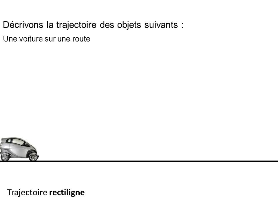 Décrivons la trajectoire des objets suivants : Une voiture sur une route Trajectoire rectiligne