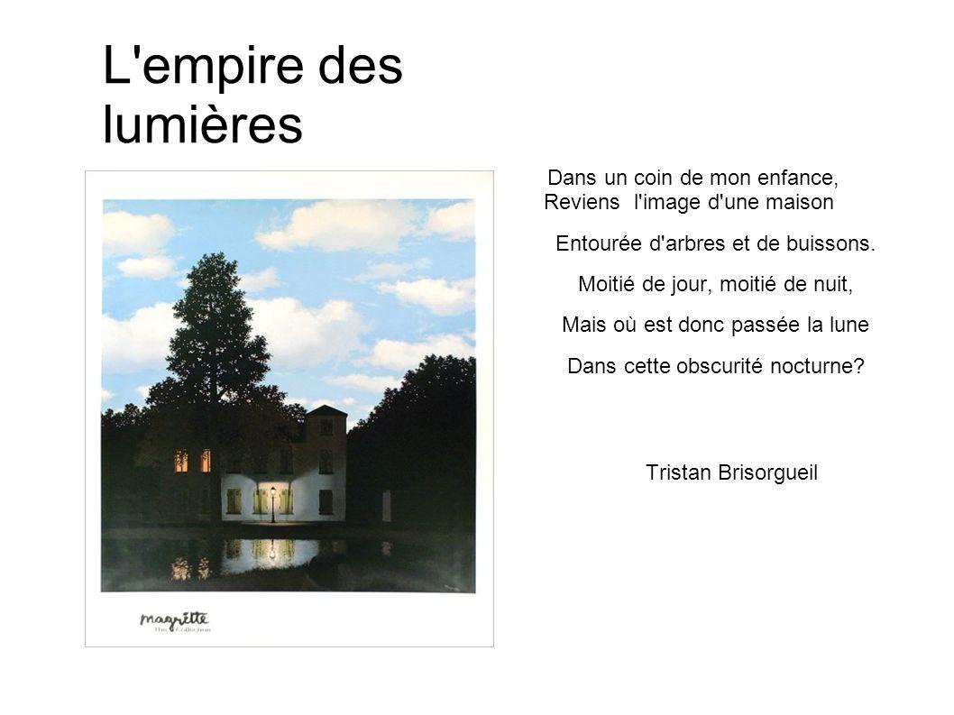 L'empire des lumières Dans un coin de mon enfance, Reviens l'image d'une maison Entourée d'arbres et de buissons. Moitié de jour, moitié de nuit, Mais