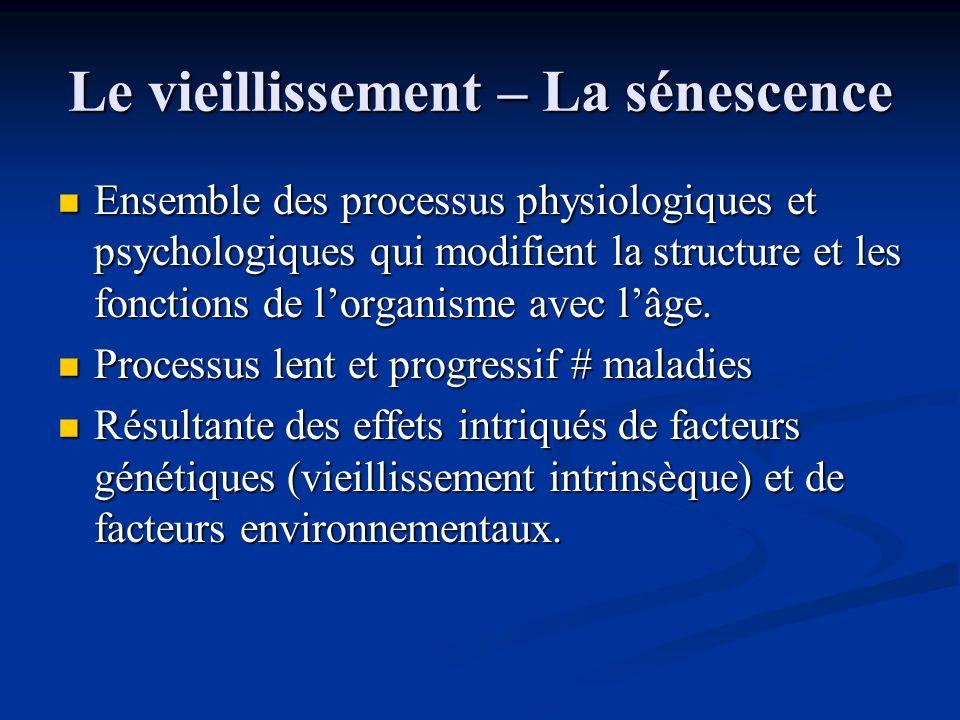 Le vieillissement – La sénescence Ensemble des processus physiologiques et psychologiques qui modifient la structure et les fonctions de lorganisme av