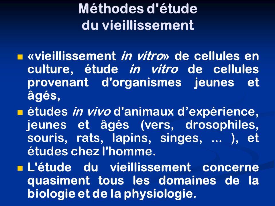 Méthodes d'étude du vieillissement «vieillissement in vitro» de cellules en culture, étude in vitro de cellules provenant d'organismes jeunes et âgés,