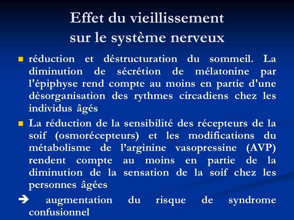 Effet du vieillissement sur le système nerveux réduction et déstructuration du sommeil. La diminution de sécrétion de mélatonine par l'épiphyse rend c