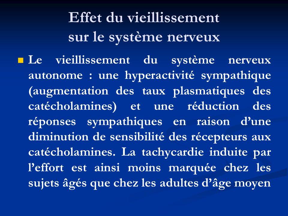 Effet du vieillissement sur le système nerveux Le vieillissement du système nerveux autonome : une hyperactivité sympathique (augmentation des taux pl