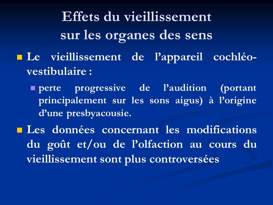 Effets du vieillissement sur les organes des sens Le vieillissement de lappareil cochléo- vestibulaire : perte progressive de laudition (portant princ