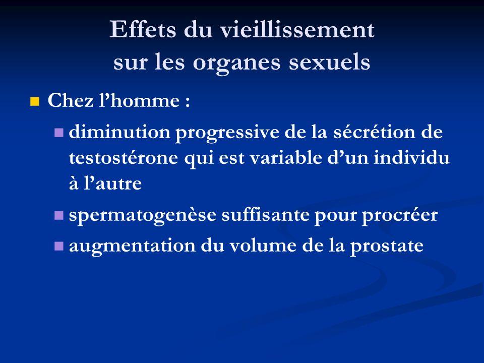 Effets du vieillissement sur les organes sexuels Chez lhomme : diminution progressive de la sécrétion de testostérone qui est variable dun individu à