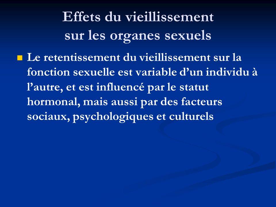 Effets du vieillissement sur les organes sexuels Le retentissement du vieillissement sur la fonction sexuelle est variable dun individu à lautre, et e