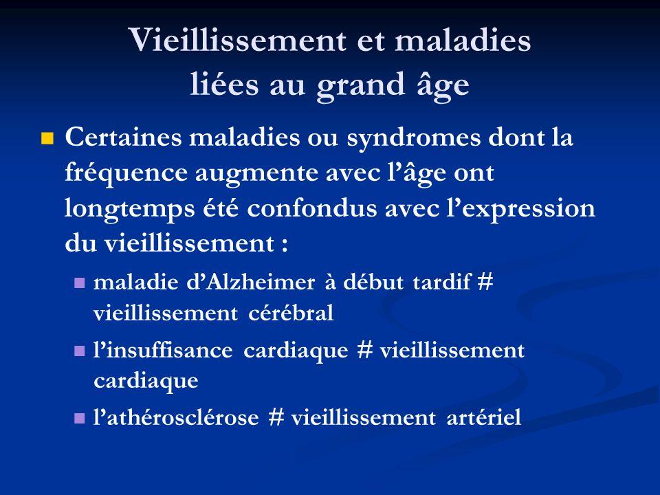 Vieillissement et maladies liées au grand âge Certaines maladies ou syndromes dont la fréquence augmente avec lâge ont longtemps été confondus avec le